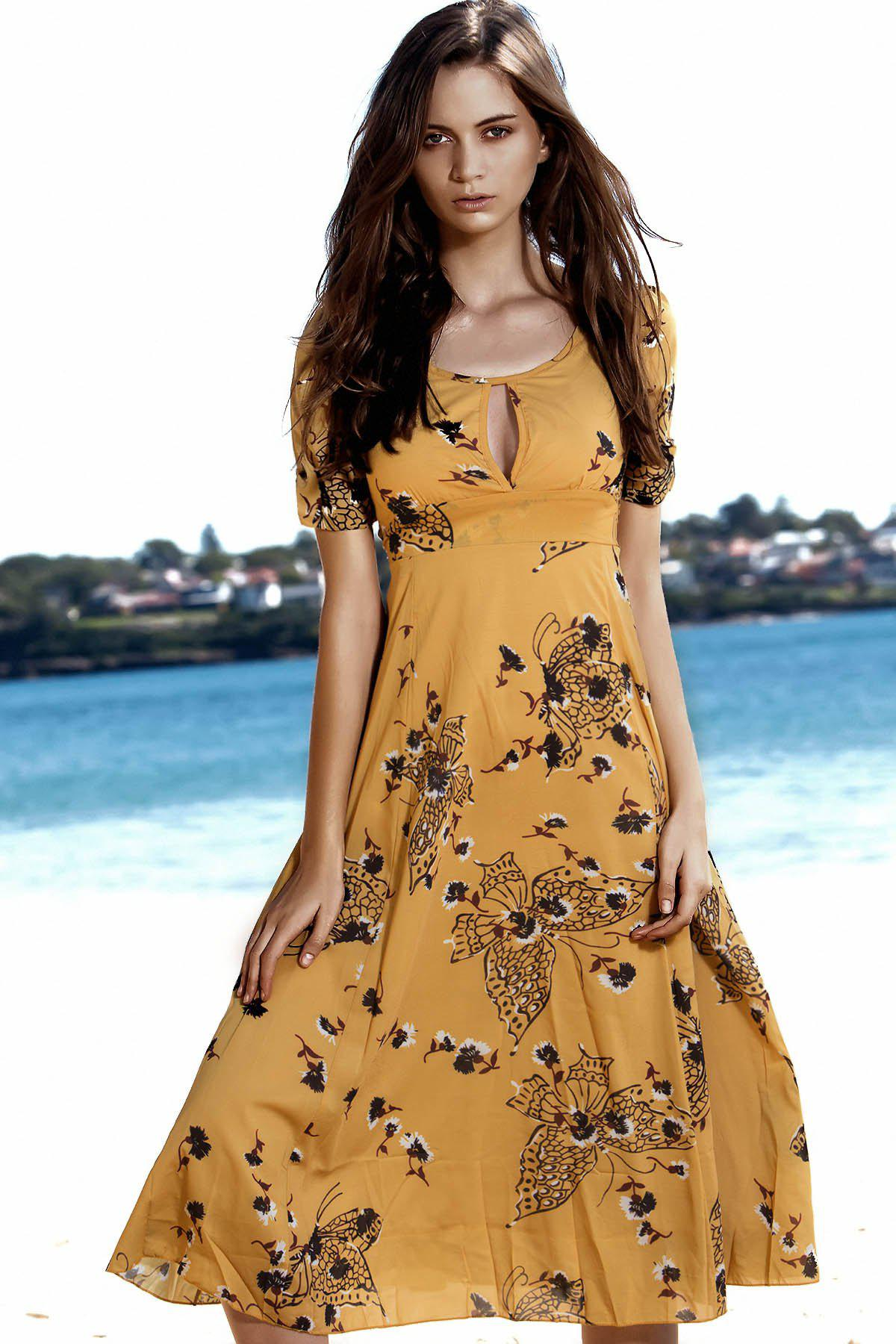 Elegant Round Neck Short Sleeve Floral Butterfly Print High-Waisted Women's Dress - YELLOW S