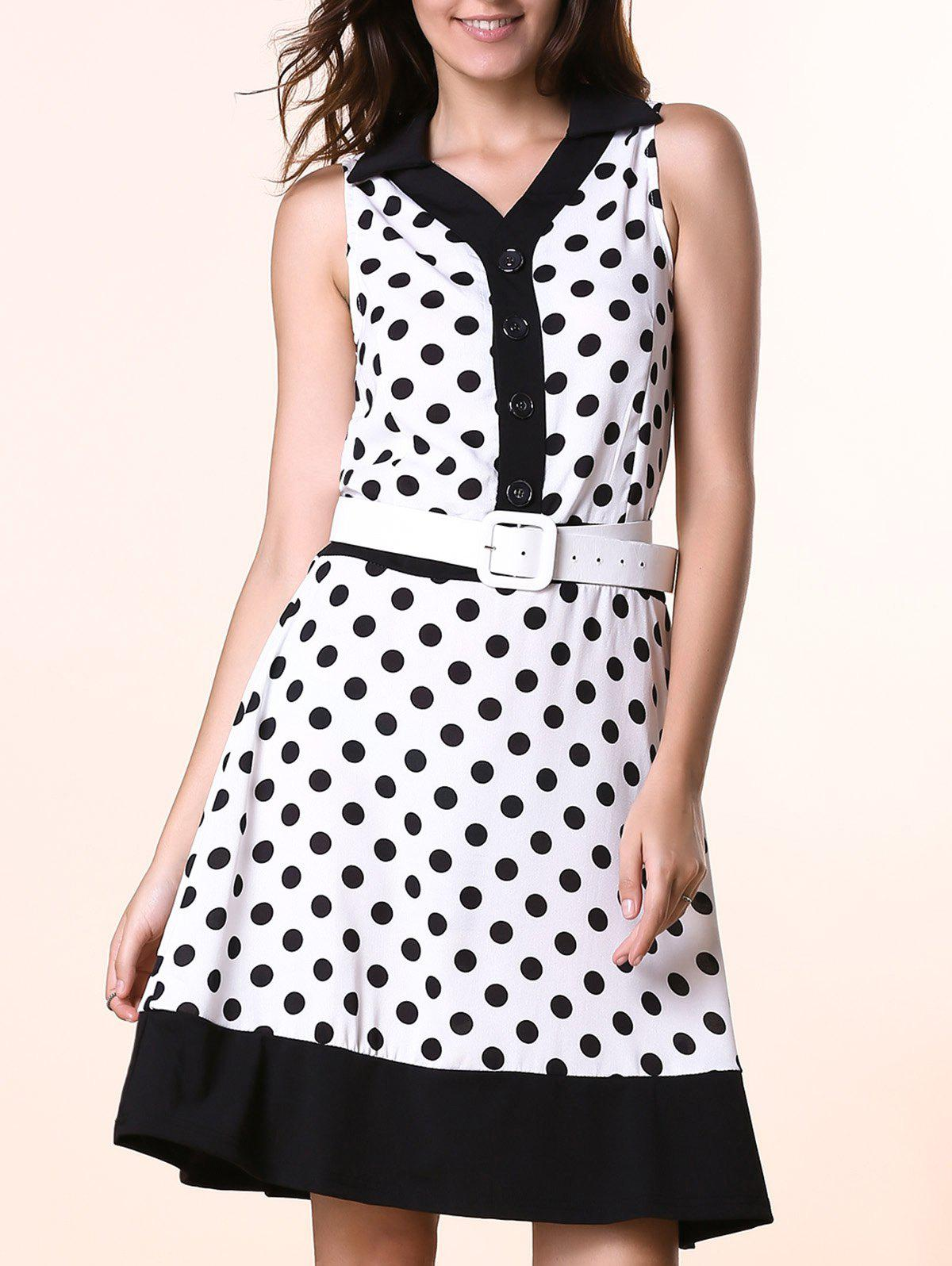Elegant Flat Collar Sleeveless Polka Dot Buttoned Women's Dress - WHITE XL