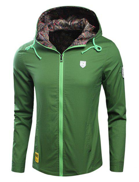 Laconic Hooded Applique Embellished Long Sleeves Men's Fitted Coat - GREEN L