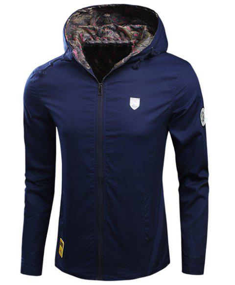 Laconic Hooded Applique Embellished Long Sleeves Men's Fitted Coat - BLUE M