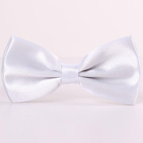 Stylish Candy Color Men's Double-Deck Satin Bow Tie - WHITE