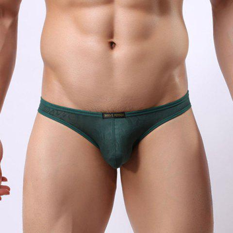 New Style Elastic Waist Solid Color Lace Jacquard Men's U Convex Pouch Briefs - GREEN S