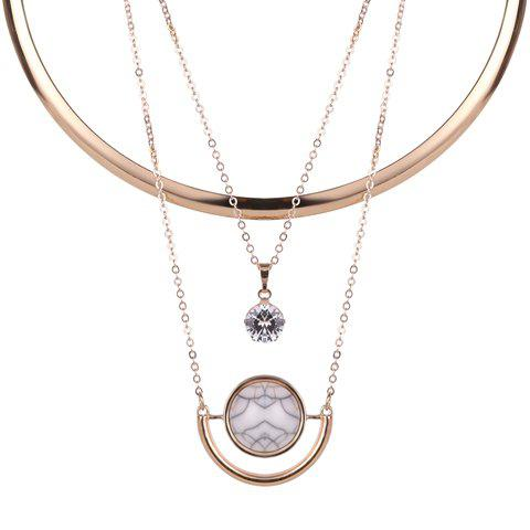 A Suit of Geometric Rhinestone Necklaces - GOLDEN