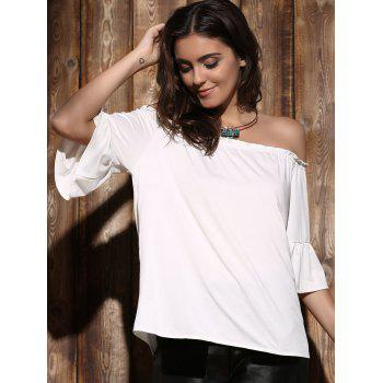 Endearing Off-The-Shoulder Flare Sleeve Pleated White Blouse For Women - WHITE ONE SIZE(FIT SIZE XS TO M)