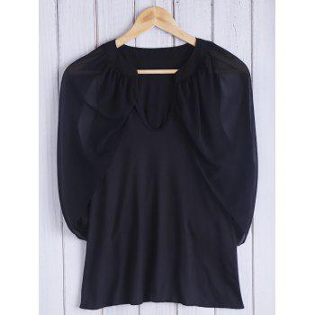 Chic Keyhole Neck 3/4 Sleeve Black Cold Shoulder See-Through Women's Blouse