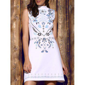 Trendy Sleeveless Stand Collar Floral Print Women's Dress