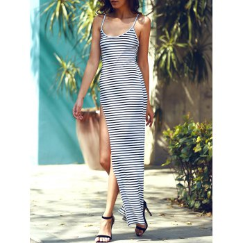 Stylish Spaghetti Strap Striped High Cut Dress For Women - STRIPE XL