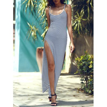 Stylish Spaghetti Strap Striped High Cut Dress