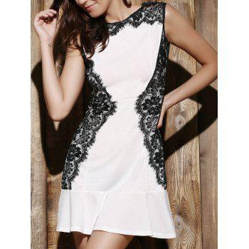 Elegant Women's Round Collar Lace Spliced Ruffles Sleeveless Dress