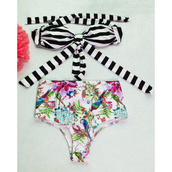 Fashionable Halter Floral Print Striped Women's Bikini Set