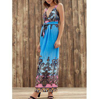 Elegant Plunging Neck Sleeveless Printed Self-Tie High Waist Women's Dress - BLUE BLUE