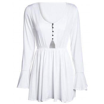 V Neck Flare Sleeve Hollow Out White Mini Dress