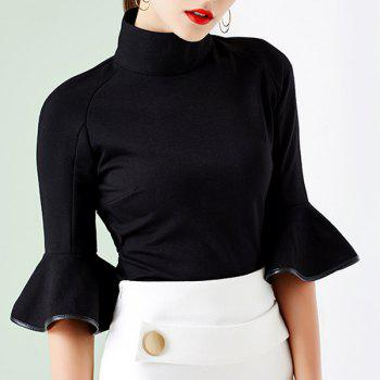 Retro Style Turtleneck 3/4 Sleeve Solid Color Slimming Women's T-Shirt