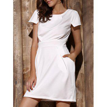 Chic Short Sleeve Round Collar Solid Color Pocket Design Women's Dress