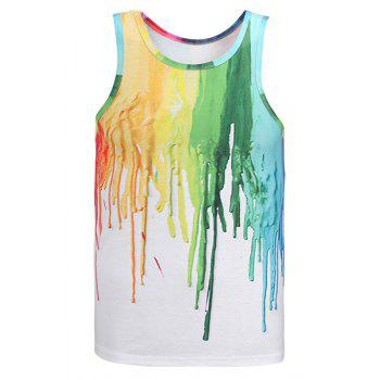 3D Colorful Pigment Print Round Neck Sleeveless Men's Tank Top - WHITE M