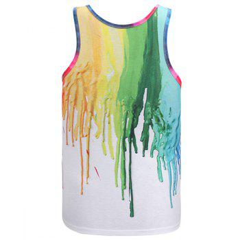 3D Colorful Pigment Print Round Neck Sleeveless Men's Tank Top - XL XL