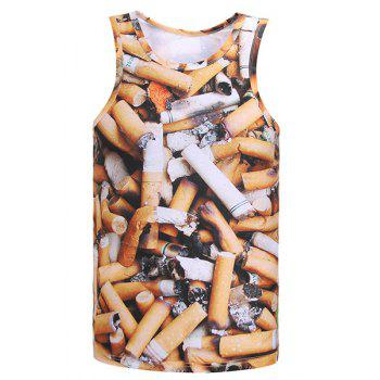 3D Cigarette Butts Print Round Neck Sleeveless Men's Tank Top - COLORMIX XL