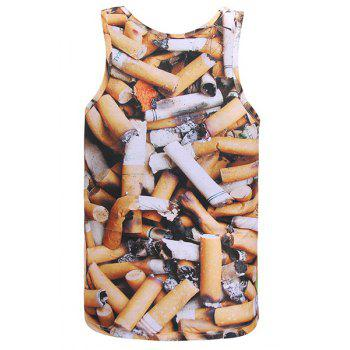 3D Cigarette Butts Print Round Neck Sleeveless Men's Tank Top - XL XL