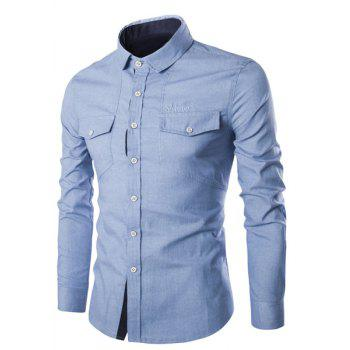 Pockets Design Embroidery Turn-Down Collar Long Sleeve Men's Denim Shirt