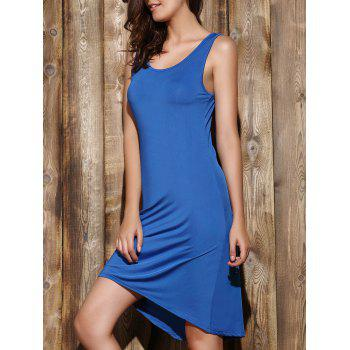 Simple Sleeveless Scoop Neck Solid Color Pleated Women's Dress