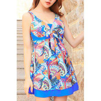 Cute Peacock Print High Waist One-Piece Dress Swimwear For Women