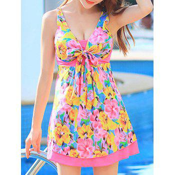 Cute Floral Print High Waist One-Piece Dress Swimwear For Women