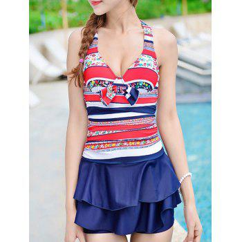 Cute Halter Striped Ruffled Underwire One-Piece Swimwear For Women