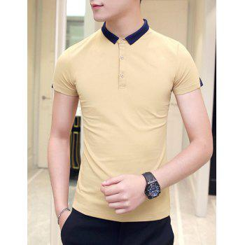 Slimming Short Sleeves Pullover Polo T-Shirt For Men - YELLOW 2XL