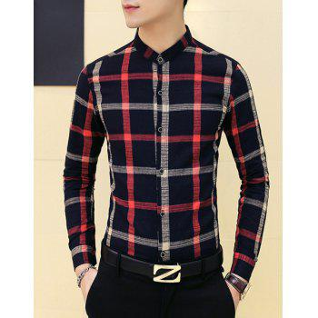 Slimming Stand Collar Plaid Shirt For Men