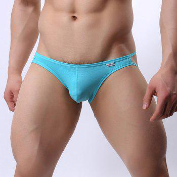 Hollow Out Solid Color Elastic Waist U Convex Pouch Design Men's Thongs