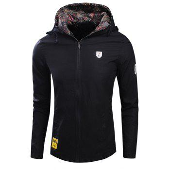 Laconic Hooded Applique Embellished Long Sleeves Men's Fitted Coat