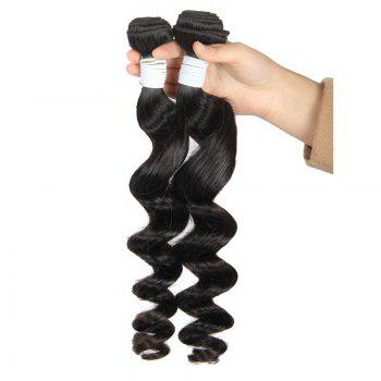 Stylish Fluffy Loose Wave Brazilian Human Hair Natural Black 1 Piece/Lot Hair Weft - BLACK 10INCH
