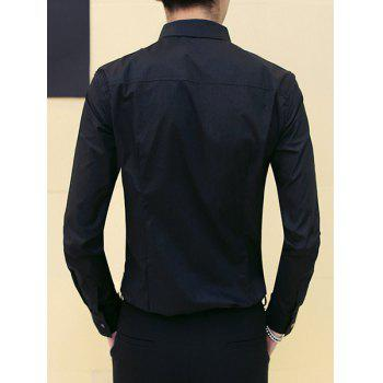 Slimming Round Collar Printing Shirt For Men - BLACK M