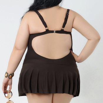 Brief Women's Spaghetti Strap Candy Color Swimsuit - COFFEE 2XL