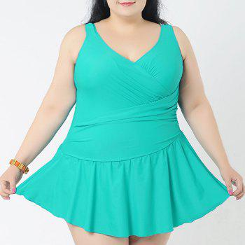 Simple Women's V-Neck Solid Color Swimsuit - LAKE GREEN LAKE GREEN