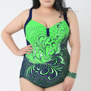 Chic Women's Sweetheart Neck Wave Print Swimsuit - GREEN 4XL