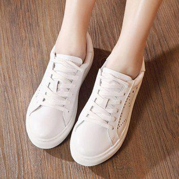 Leisure Lace-Up and PU Leather Design Women's Athletic Shoes - 37 37