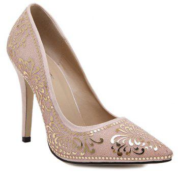 Trendy Stiletto Heel and Floral Print Design Women's Pumps