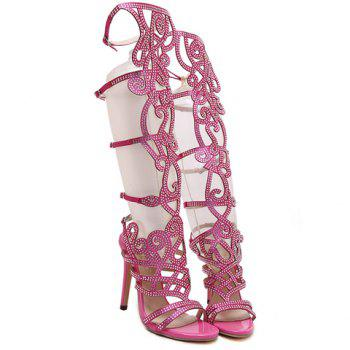 Trendy Satin and Rhinestones Design Women's Sandals - 38 38