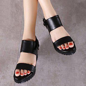 Fashionable Wedge Heel and Black Color Design Women's Sandals - BLACK 37