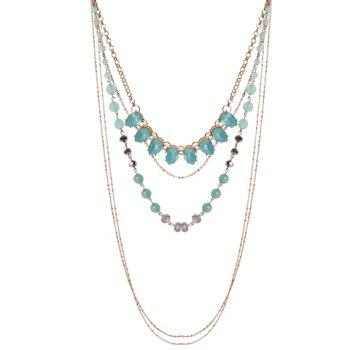 Faux Crystal Multilayer Beads Alloy Necklace