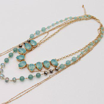 Faux Crystal Multilayer Beads Alloy Necklace - GOLDEN