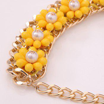 Flower Faux Pearls Decorated Pendant Necklace - YELLOW