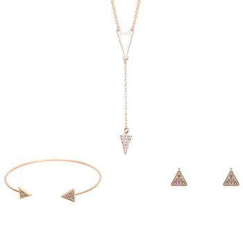 Triangle Shape Rhinestoned Jewelry Set (Necklace Bracelet and Earrings)