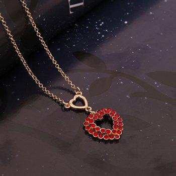 A Suit of Heart Shape Faux Ruby Necklace and Earrings - RED