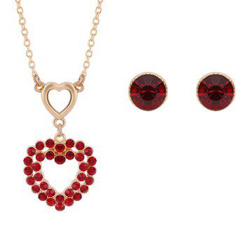 A Suit of Heart Shape Faux Ruby Necklace and Earrings