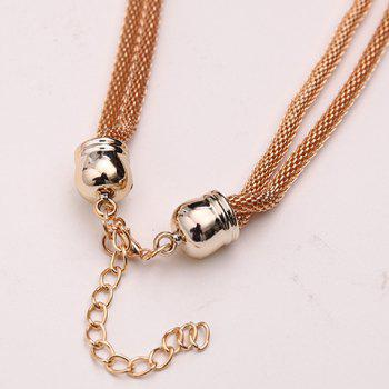 Chains Beads Triangle Necklace - GOLDEN