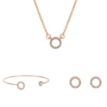 Ring Shape Rhinestoned Jewelry Set (Necklace Bracelet and Earrings)