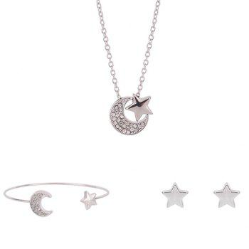 Rhinestoned Star Crescent Shape Jewelry Set (Necklace+Bracelet+Earrings)