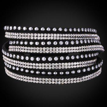 Charming Layered Rhinestone Faux Leather Bracelet For Women